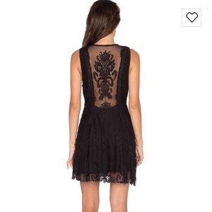 Free People reign over me black lace dress Sz 0